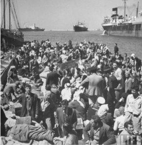 פליטים בנמל חיפה 1948